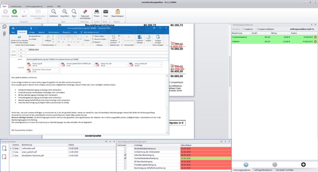 Über Ihre Änderungen an der Rechnung können Sie das Nachunternehmen direkt per E-Mail informieren.